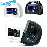 LOHOME (TM) Classic Multi Functional LCD Weather Station Forecast Temperature Humidity Calendar Table Alarm Clock with Snooze Function (White)