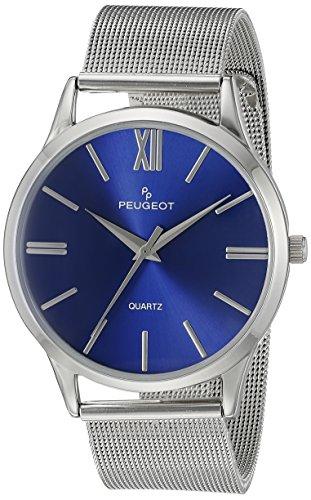 Peugeot - Orologio da uomo in acciaio INOX, cinturino in maglia metallica, quadrante colore: Blu