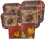 Thanksgiving Disposable Dinnerware Set for Your Holiday Party - Fall Thanksgiving Turkey - Dinner Plates, Dessert Plates, Napkins (Serves 16)