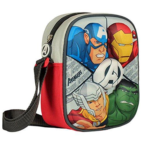 Marvel Avengers Borsa tracolla spalla Messenger 3D, Poliestere, Nero, 18 cm