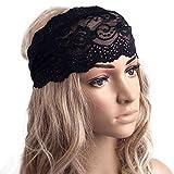 Tenworld-Women-Girl-Yoga-Elastic-HairBand-Vintage-Cutout-Lace-Headwrap-Turban-Black