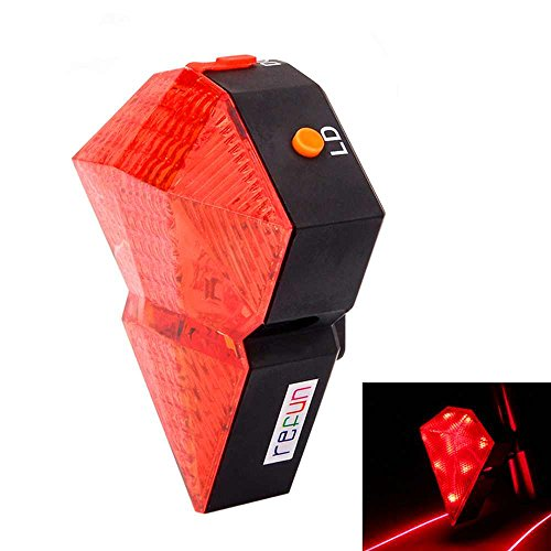 Refun(Tm) Diamond-Shaped Rechargeable Led Waterproof Bike Cycling Tail Light Set With 9 Led (Red) And 2 Red Laserused As Bike Safety Light Or Bicycle Brake Light For Cycling Flashlight