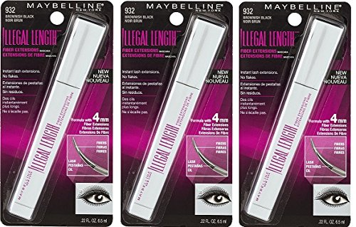 (Pack Of 3) Maybelline New York Illegal Length Fiber Extensions Washable Mascara, Brownish Black, 0.22 Fluid Ounce