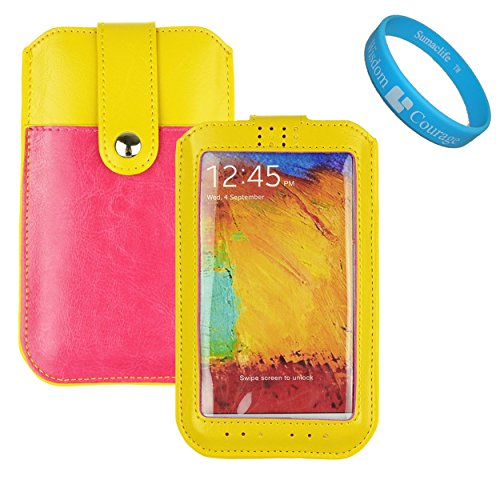 Yellow/Pink Durable Pu Leather Sleeve Case Pouch With Pocket For Apple Iphone 6 Plus, Htc One M8, M7, Htc Desire 616/516, Blu Studio 5.0, Samsung Galaxy Note 3, Note 4, Note Edge, Lg G3 S Vigor Beat + Sumaclife Tm Wristband