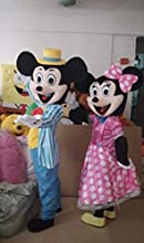 WOW the New Adult Stripe Mickey Mouse and Pink Minnie Mascot Costumes Halloween Outfit Fancy Dress S