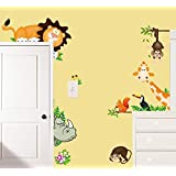 Dushang Lovely Giraffe Monkey Rhinoceros Lion Zoo Zoological Ggarden Art Wall Stickers Decal for Nursery Home Decor Boys and Girls Children Courtyard Baby Room
