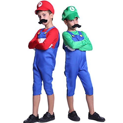 80s Boys Kids Super Mario Luigi Bros Plumber Workman Fancy Dress Costume
