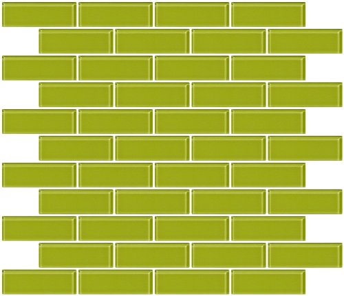 Susan Jablon Mosaics - 1x3 Inch Lime Green Glass Subway Tile