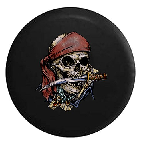 Pirate Skeleton with Sword and TreasureSpare Tire Cover Black 26-27.5 in (Pirates Jeep Tire Cover compare prices)