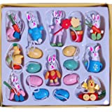 Gisela Graham Wooden Easter Tree Decorations Box of 18 Including Wood Eggs, Bunny and Chicks