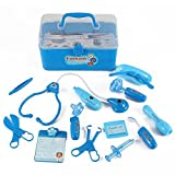 Medical Box Blue Doctor Nurse Medical Kit Playset For Kids - Pretend Play Tools Toy Set