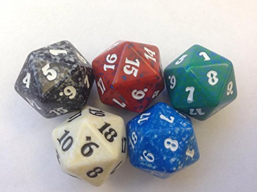 MTG Spindown D20 Life Counter - Set of 5 Colors Lot (White, Blue, Black, Red, Green) - 1