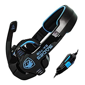 Sades Sa-708 Game Earphone Headset Over-Ear Headphone With Microphone For PC Computer Gaming, Blue