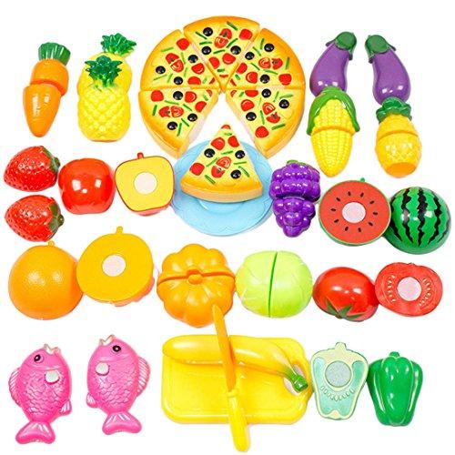 Finer Shop 24pcs PlastikfruchtGemüseKüche Cutting Toy Pretend Play KinderRollenspiele Küchenspielzeug Picture