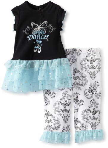 Vitamins Baby-Girls Newborn Little Dancer 2 Piece Pant Set, Black, 6 Months