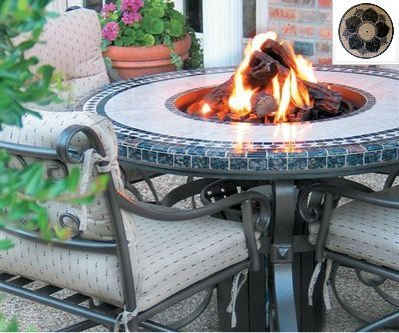 Sundance Southwest Tft2960Mggbz Traditional Style Fire Table-29 In. Tall X 60 In. Diameter, Magnolia Design, Greens Granite Colors, Bronze Powder Coat