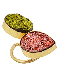 Gehna Mart Gold Plated Multicolor Drusy Stone Gold Finished Ring For Women