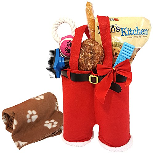 Holiday Dog Gift Basket Toys with Treats For Small or Large Dogs Pack