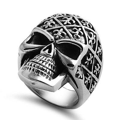 Biker Skull and Bones with Fleur De Lise Stainless Steel Casting Ring 9-14 (11)