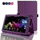 RCA 7 Voyager Tablet Case - ACdream RCA 7 Voyager Tablet 8GB Quad Core Protective Case - Folio Premium PU Leather Cover Case for RCA 7 Voyager Tablet 8GB Quad Core - Dark Purple