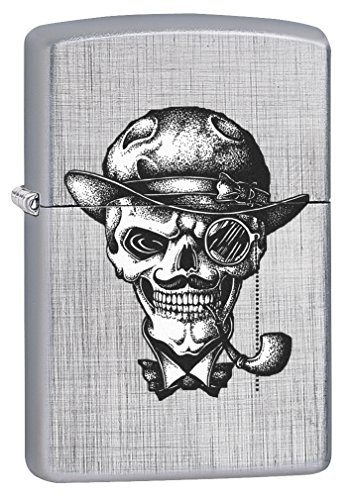 Zippo Lighter: Steampunk Skull Pipe Smoker - Linen Weave (Bradford Smoker compare prices)