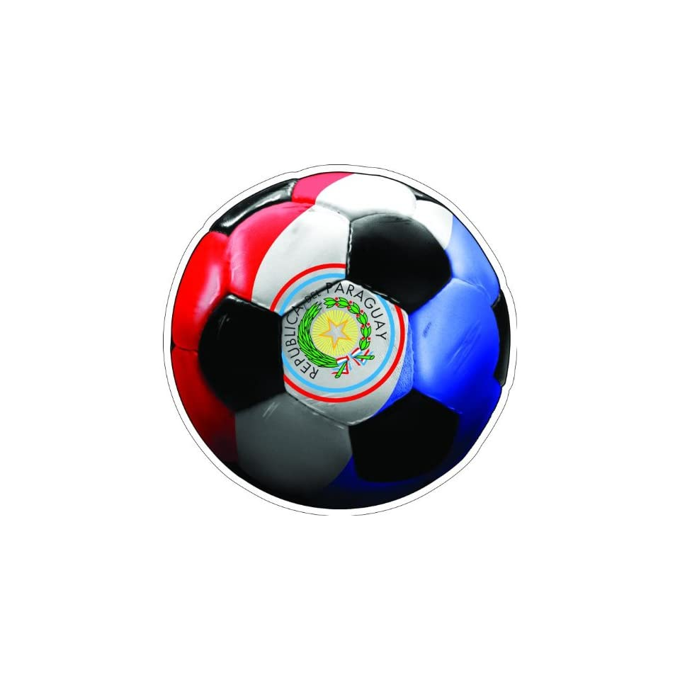 12 PARAGUAY SOCCER BALL Printed engineer grade reflective vinyl decal sticker for any smooth surface such as windows bumpers laptops or any smooth surface.