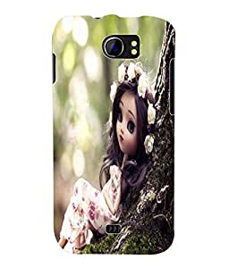 Fuson 3D Printed Cute Doll Designer Back Case Cover for Micromax Canvas 2 A110 / A110Q - D730