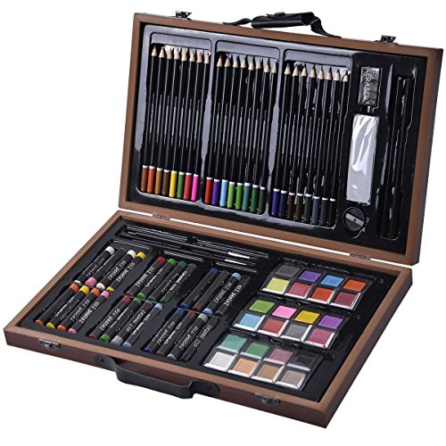 Goplus-80-piece-Deluxe-Art-Set-Drawing-and-Painting-w-Wood-Case-Accessories