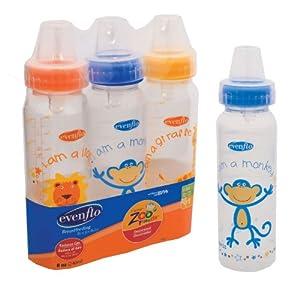 Evenflo Zoo Friends Decorated Polypro Bottle- 8oz-3pk