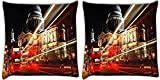 Snoogg City At Night Pack Of 2 Digitally Printed Cushion Cover Pillows 12 X 12 Inch