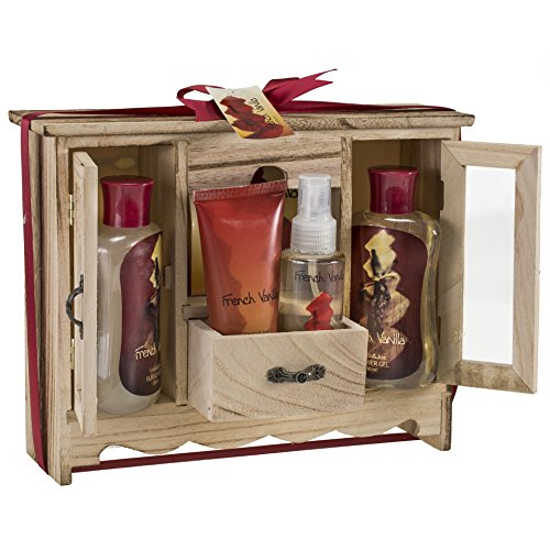 French Vanilla Spa Bath Gift Set in Natural Wood Curio,shower Gel,bubble Bath, Bath Salt,body Lotion,body Spray