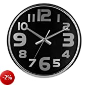 Premiere Housewares 2200604 Orologio da Parete Acciaio Inox, 38x38x5 cm, Nero