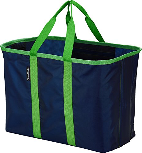CleverMade SnapBasket XL Collapsible Shopping Tote, 40 Liter Soft Sided Bag, Deep Blue/Kelly Green