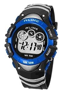 50m Water-proof Digital-analog Boys Girls Sport Digital Watch with Alarm Stopwatch Chronograph 5106-Blue