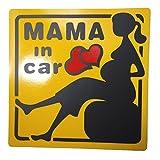 MAMA IN CAR 妊婦さん 乗車中 ( 12cm その2 )( マグネット ステッカー )( マタニティ マーク 外貼り デザイン )