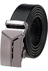 Vbiger Fashion Men's Ratchet Belt Automatic Buckle Full Grain Leather 35mm Wide