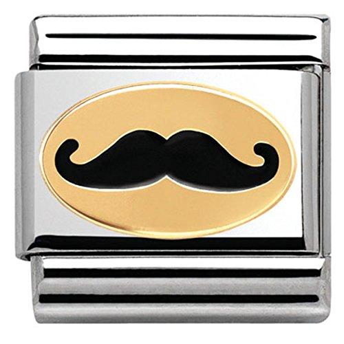 Nomination Damen-Charm MADAME ET MONSIEUR Schnurrbart 18K Gold Edelstahl Emaille - 030285/19