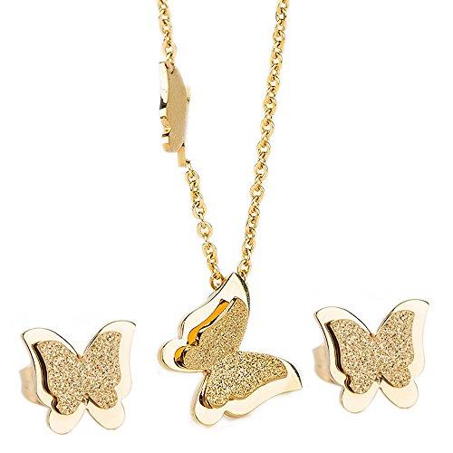 Kim-Johanson-Edelstahl-Damen-Schmuckset-Schmetterling-Halskette-mit-Anhnger-Ohrringe-in-Gold-inkl-Geschenkverpackung