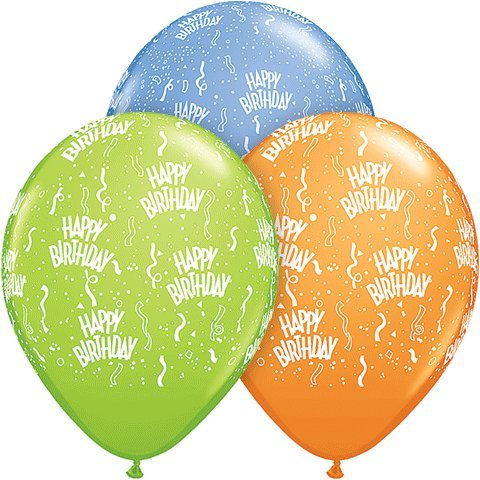 "Pioneer Balloon Company Happy Birthday Latex Balloons (5 Pack), 11"", Assorted - 1"