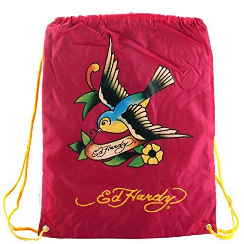 Ed Hardy Drew Drawstring Spring Sparrow Bag -Berry
