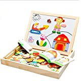 Vidatoy Creative Wooden Magnetic Jigsaw Puzzle Chalk Dry Erase Board For Kids