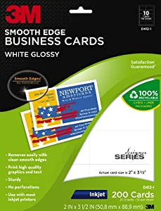 3M Glossy Business Cards, Smooth Edge, Inkjet, White, 2 x 3 1/2 Inches, 200 per Pack (D412-I)