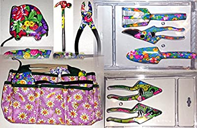 MOTHER'S DAY GIFTS - THE COMPLETE 14 PIECE FLORAL FLOWER DESIGN HOUSEHOLD HOUSE AND GARDENING GARDEN SET OF HAND TOOLS FOR MOM HER WOMEN GIRLS KIDS - COMES WITH FREE TOOL BELT {jg}