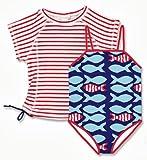 Snapper Rock  Stripe Fish UV-Protective girls Swim Suit + Rashie Set