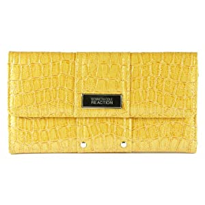 Kenneth Cole Reaction Yellow Patent Croc Flap Wallet W/ Studded Detail
