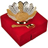 Jaipur Ace Silver And Gold Plated Brass Bowl With Spoon (Absg00003 )