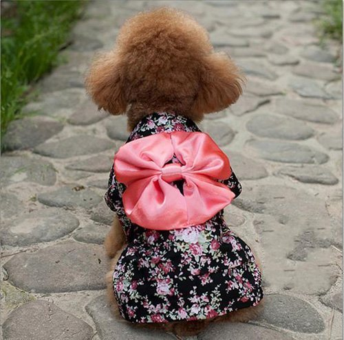 Dogloveit Japanese Kimono Style Costume Dog Clothes For Puppy Cat,Black,X-Small
