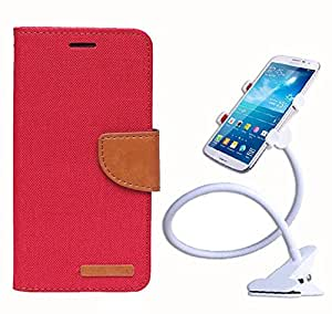 Aart Fancy Wallet Dairy Jeans Flip Case Cover for NokiaN540 (Red) + 360 Rotating Bed Moblie Phone Holder Universal Car Holder Stand Lazy Bed Desktop by Aart store.
