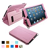 Snugg iPad Mini Leather Case Cover and Flip Stand with Elastic Hand Strap and Premium Nubuck Fibre Interior (Pink) - Automatically Wakes and Puts the iPad Mini to Sleep