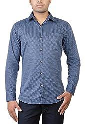 Basil Men's Cotton Blend Casual Shirt (BA360CP40CSF-40, Blue, 40)